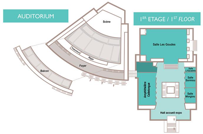 Marseille Chanot - Palais des Congrès - Plan auditorium et 1er étage