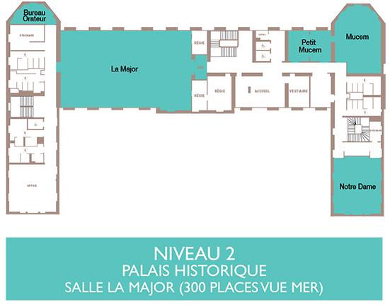 Palais du Pharo - Plan niveau 2