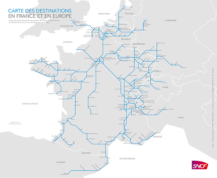 Carte des destinations en France et en Europe