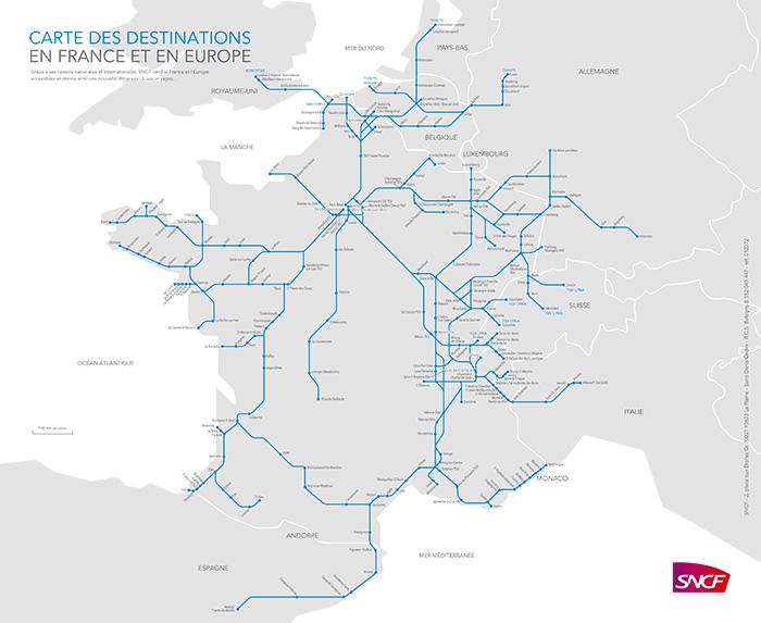 Carte des destinations en France et en Europe